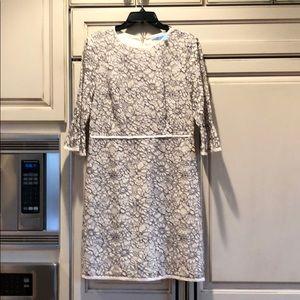 Draper James worn once ivory/navy dress 10
